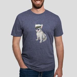 Frenchie French Bulldog black glasses Capt T-Shirt