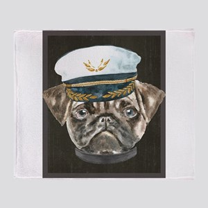Pug Captain Hat Collar Dogs In Clot Throw Blanket