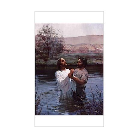 Jesus Baptism River Jordan Rectangle Sticker