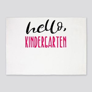 Kindergarten Hello Dark Cute Funny 5'x7'Area Rug