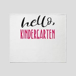 Kindergarten Hello Dark Cute Funny Throw Blanket