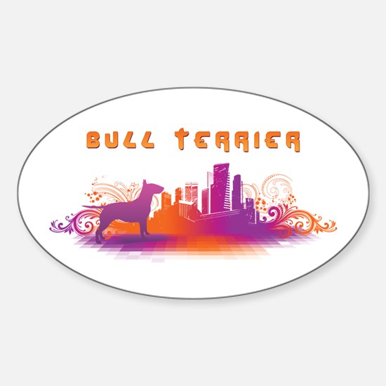 """City"" Bull Terrier Oval Decal"