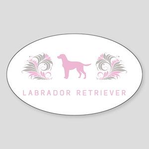 """""""Elegant"""" Labrador Retriever Oval Sticker"""