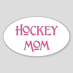 Hockey Mom pink text Oval Sticker