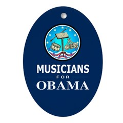 MUSICIANS FOR OBAMA Oval Ornament