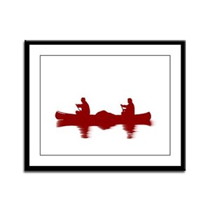RED CANOE Framed Panel Print