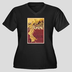 La Boheme Women's Plus Size V-Neck Dark T-Shirt