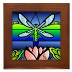 Dragonfly Tiffany Style Framed Tile