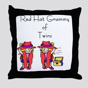 Red_Hat_Grammy_Twins Throw Pillow