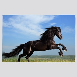 Black Horse Running 4' x 6' Rug