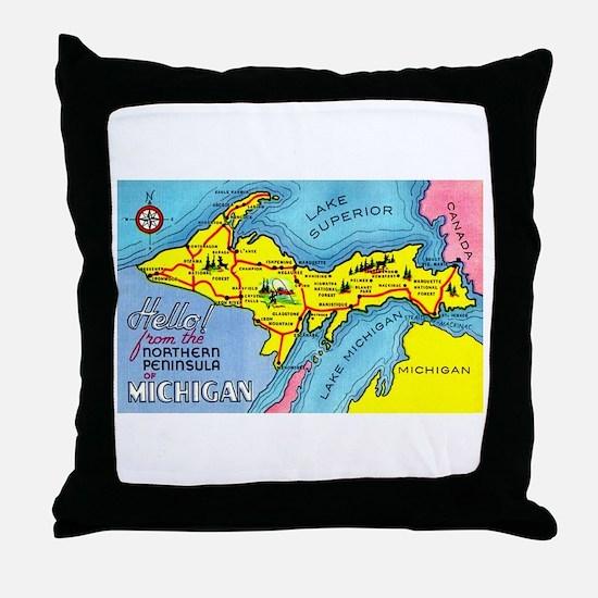 Michigan Northern Upper Peninsula Throw Pillow