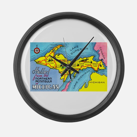 Michigan Northern Upper Peninsula Large Wall Clock