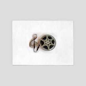 Clef and Film Reel by Leslie Harlow 5'x7'Area Rug