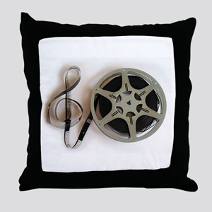 Clef and Film Reel by Leslie Harlow Throw Pillow