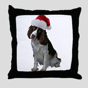 Springer Spaniel Santa Throw Pillow