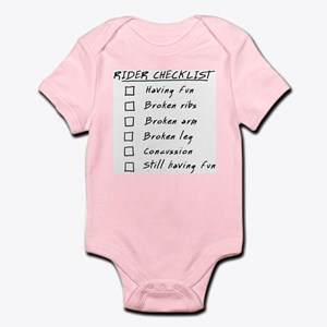 Humorous Rider Checklist, funny Infant Bodysuit