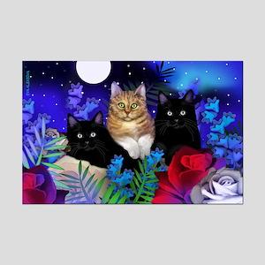 ORANGE TABBY BLACK CATS MOON Mini Poster Print