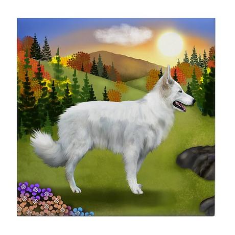 White German Shepherd Dog Fall Tile Coaster
