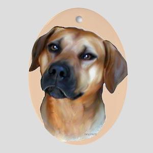 rhodesian ridgeback portrait Keepsake (Oval)