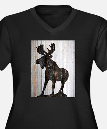 Moose Stance on Wood by Leslie H Plus Size T-Shirt