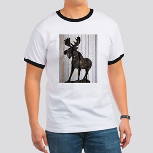 Moose Stance on Wood by Leslie Harlow T-Shirt