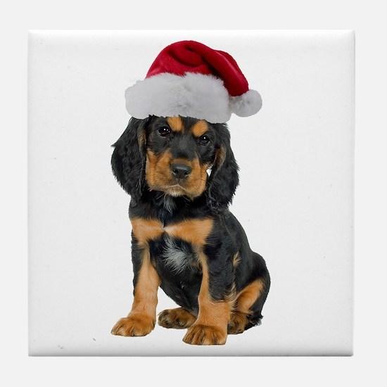 Gordon Setter Christmas Tile Coaster
