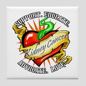 Kidney Cancer Tattoo Heart Tile Coaster