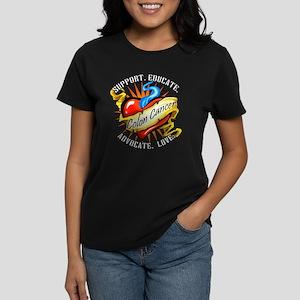 Colon Cancer Tattoo Heart Women's Dark T-Shirt
