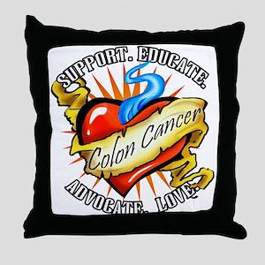 Colon Cancer Tattoo Heart Throw Pillow