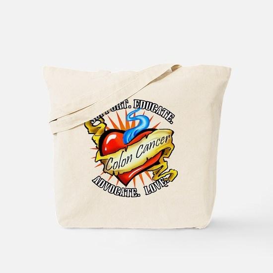 Colon Cancer Tattoo Heart Tote Bag