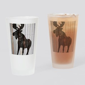 Moose Stance on Wood by Leslie Harl Drinking Glass