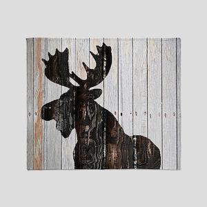 Moose Stance on Wood by Leslie Harlo Throw Blanket