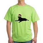 Black Lab Christmas Green T-Shirt