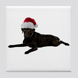 Black Lab Christmas Tile Coaster
