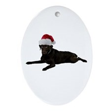 Black Lab Christmas Oval Ornament