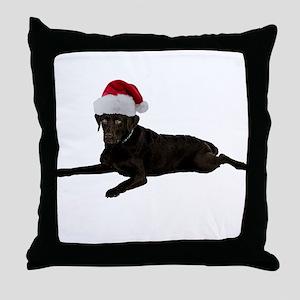 Black Lab Christmas Throw Pillow
