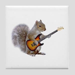 Squirrel Guitar Tile Coaster