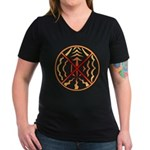 Native Spirit Art Women's V-Neck Dark T-Shirt