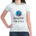 BROADWAY FOR OBAMA Jr. Ringer T-Shirt
