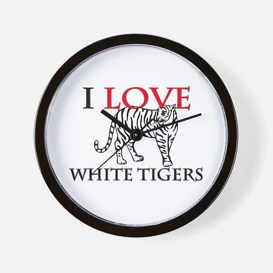 I Love White Tigers Wall Clock