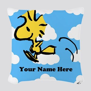 Woodstock Flying Personalized Woven Throw Pillow