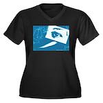 Chain Eye Women's Plus Size V-Neck Dark T-Shirt