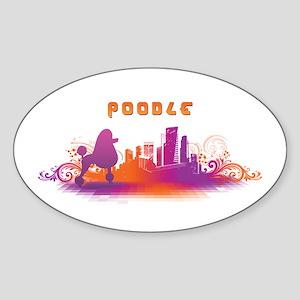 """""""City"""" Poodle Oval Sticker"""