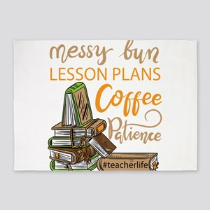 Messy bun lesson plans coffee schoo 5'x7'Area Rug