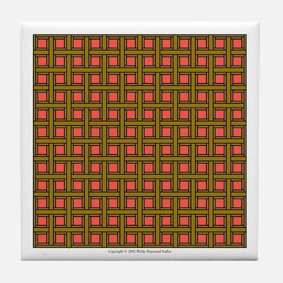 Brown Latticework Tile Coaster