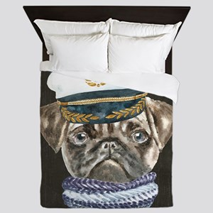 Pug Captain Hat Scarf Dogs In Clothes Queen Duvet