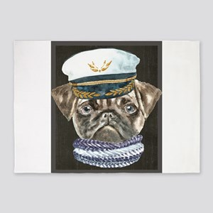 Pug Captain Hat Scarf Dogs In Cloth 5'x7'Area Rug