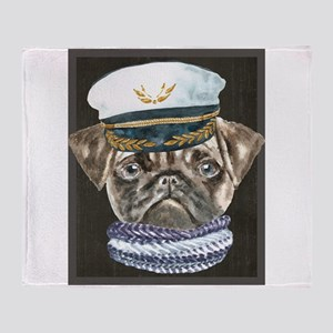 Pug Captain Hat Scarf Dogs In Clothe Throw Blanket