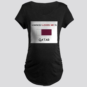 Somebody Loves Me In QATAR Maternity Dark T-Shirt