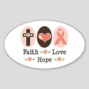 Faith Love Hope Pink Ribbon Oval Sticker
